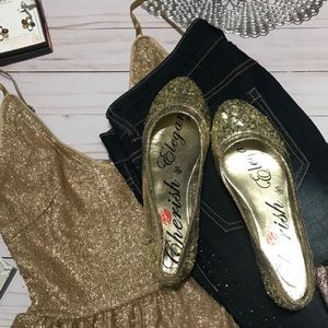 Flat ballet gold sequined slip-on shoes, s.7.5